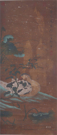 A CHINESE VERTICAL SCROLL OF PAINTING WILD GOOSE BY HUANG JUCAI
