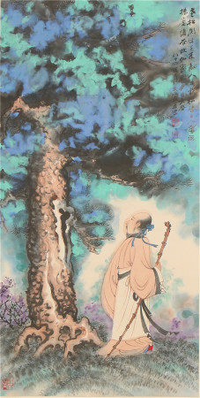 A CHINESE SCROLL PAINTING OF ELDER IN PINETUM FOREST BY ZHANG DAQIAN