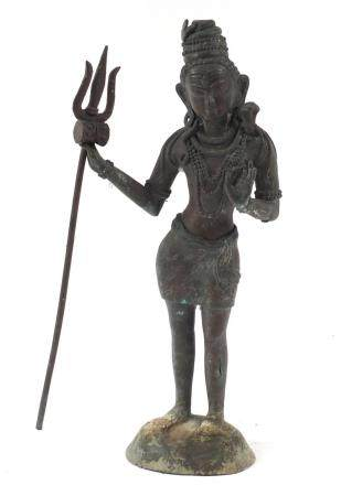 Large Asian patinated bronze standing deity, possibly Burmese, 54cm high : For Condition Reports