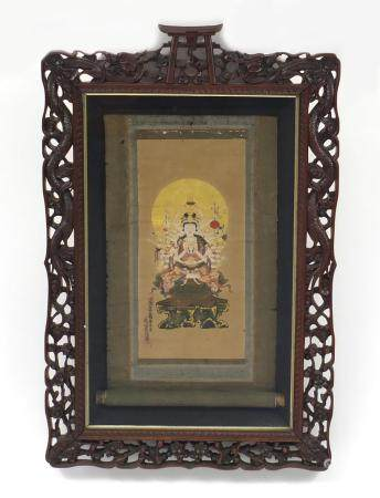 Tibetan hand painted scroll of buddha housed in a Chinese hardwood frame carved with dragons, 70cm x
