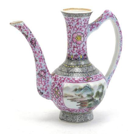 Chinese porcelain wine jug, hand painted in the famille rose palette with a snowy landscape and