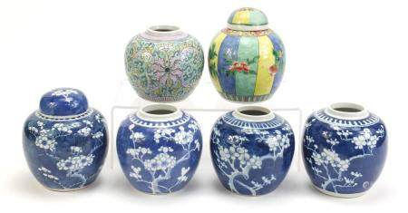 Six Chinese porcelain ginger jars, two with covers including four hand painted with prunus