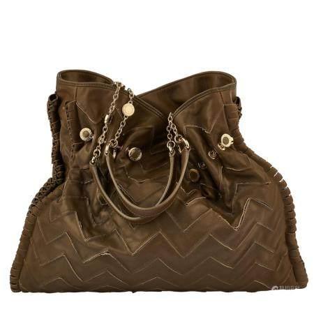 "BULGARISac ""Tina"" 37 cm en cuir kaki, garniture en métal doré, à motifs de chevrons, fermeture"