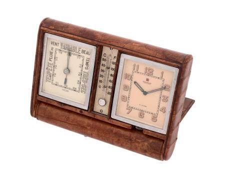 JAEGER LECOULTRE VERS 1940N° 014707Pendulette en acier de type ADOS, cadran blanc, index chiffr