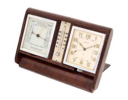 JAEGER LECOULTRE VERS 1940N° 020667Pendulette en acier de type ADOS, cadran blanc, index chiffr