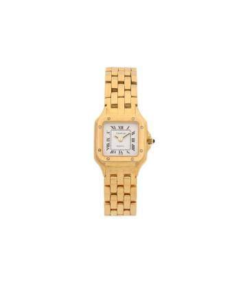 GENEVE VERS 1990Montre bracelet pour femme en or jaune 18k (750), cadran blanc, index chiffres