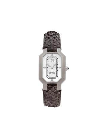 REPOSSI R2Réf : R2SQN° 1023Montre bracelet pour femme en acier brossé, cadran nacre blanche sig