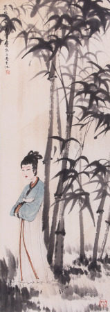 A Chinese Scroll Painting Fu Baoshi Mark