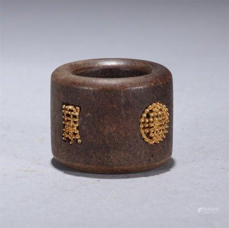 清 沉香木嵌寿字纹扳指