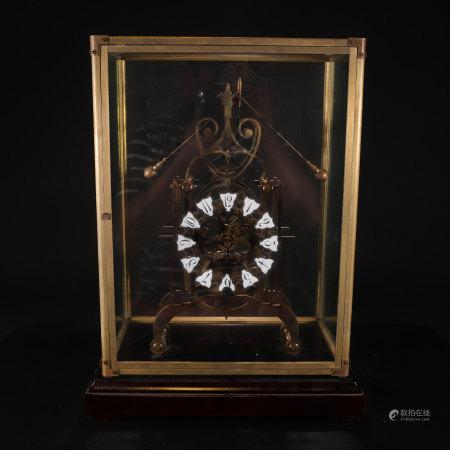 铜鎏金教堂式机械座钟