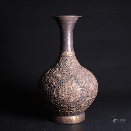 清 银镀金缠枝花卉纹玉壶春瓶