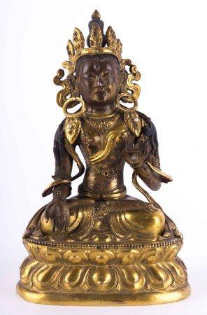 Weiße Tara,Tibet Chen lung DynstiThibeto-Chinesisch, Kupferlegierung teils feuervergoldet mit