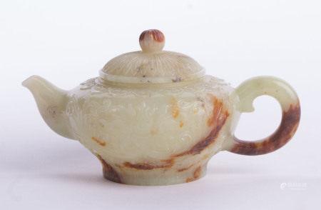 Kleine Jade-Teekanne China um 1900späte Qing Dynastie oder frühe Republikperiode, umlaufend sehr