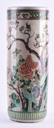 Famille Rose Bodenvase China Qing Periodeumlaufend mit floraler, Insekten - und Vogel Malerei