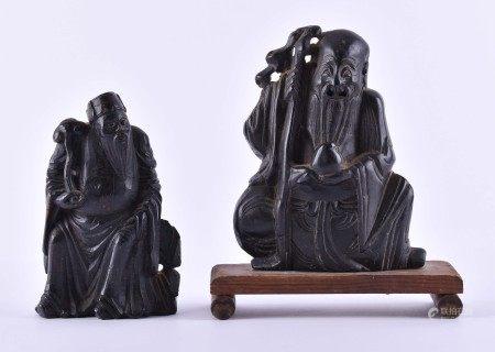 2 Specksteinfiguren China 18. / 19. Jhd.2 Unsterbliche, feine Schnitzerei, H: je ca. 13 cm2