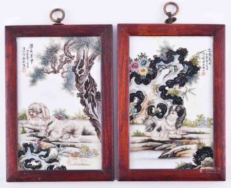 Paar Porzellanbilder China 20. Jhd.Pendant, jeweils polychrome Malerei mit Pekinesen in