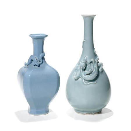 Two clair-de-lune glazed bottle vases Late Qing/Republic period (2)