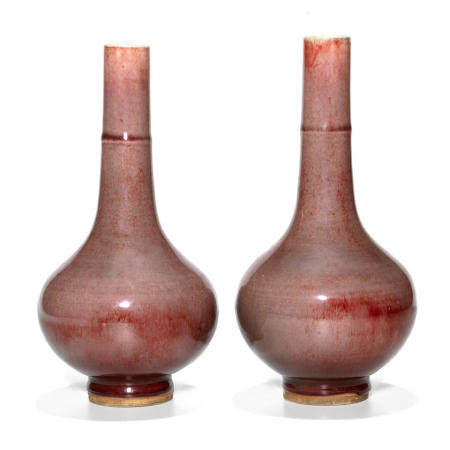 Two copper red long neck vases Kangxi Period (2)
