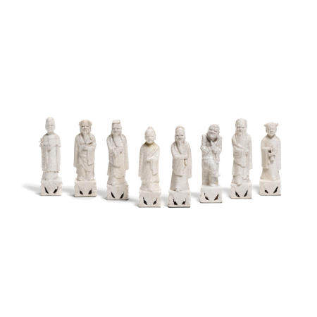 """A set of crackle glazed porcelain figures of the 'Eight Daoist Immortals""""  Late Qing/Republic Period (8)"""