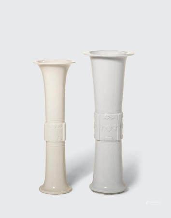 Two Dehua gu-form beaker vases  18th/19th century (2)