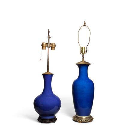 Two powder blue glazed porcelain vases 19th century (2)