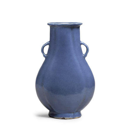 A blue glazed ovoid vase Late Qing/Republic Period