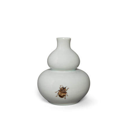 A small double gourd vase with polychrome cicada decoration Republic period