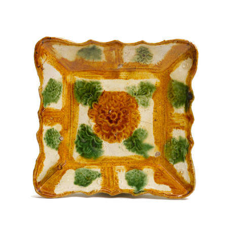 A sancai glazed molded dish Liao dynasty