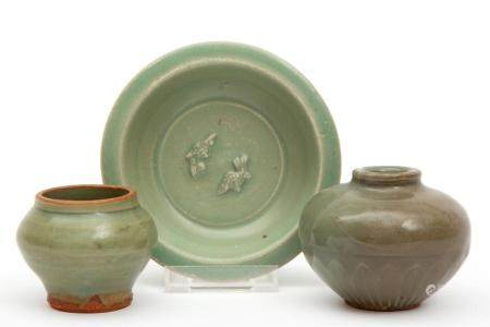 Three small pieces of old celadon pottery