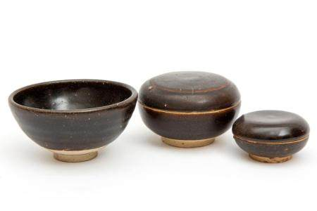 Three pieces of brown glaze pottery