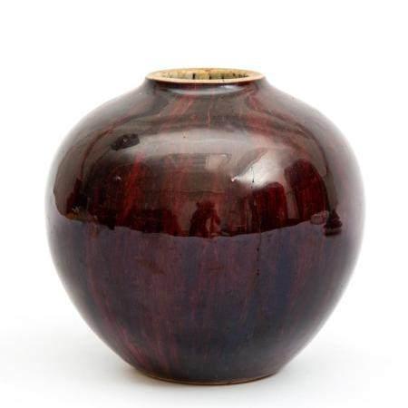 A monochrome oxblood glaze vase