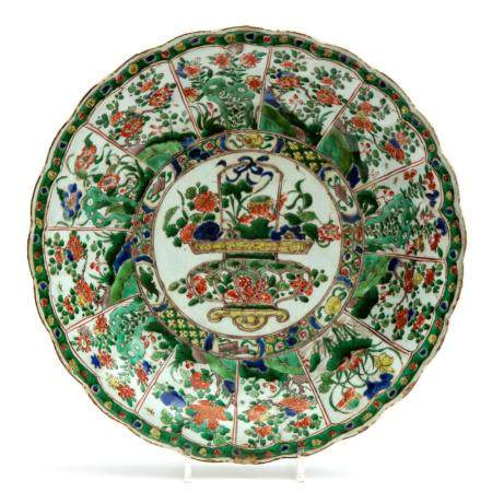 A large famille verte flower basket charger