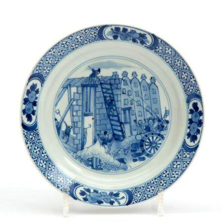 "A blue and white plate depicting the ""Rotterdam Riots"""