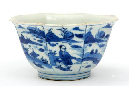 An octagonal blue and white bowl