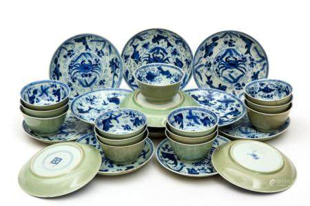 Thirteen blue and white cups and saucers with celadon glaze