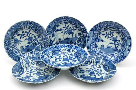 Six blue and white deep plates