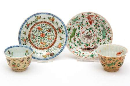 Two cafe-au-lait famille verte cups and saucers