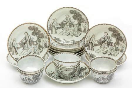 A set of enre-de-Chine cups and saucers