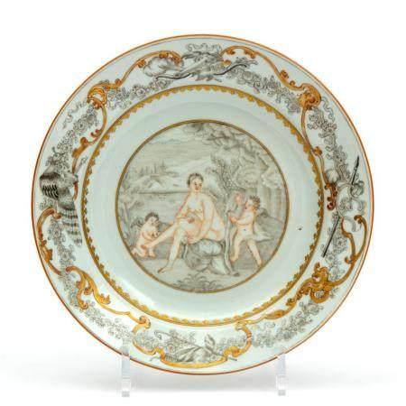 An encre-de-Chine plate of a bathing Venus