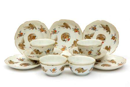 Eight semi-eggshell cups and saucers with flying cranes