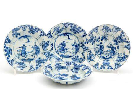 Four blue and white deep plates with warriors on horses