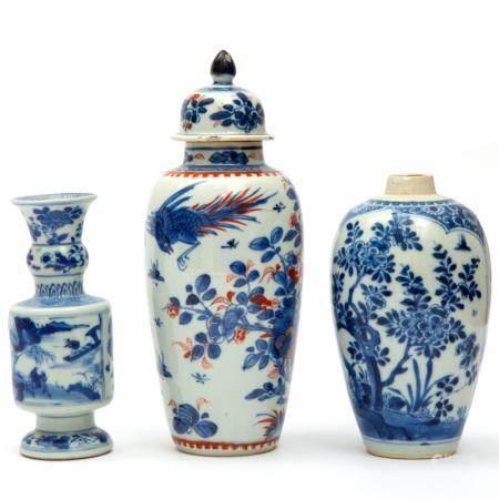 Three blue and white porcelain vases