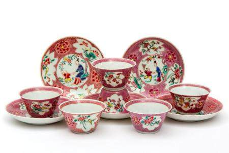 Five famille rose cups saucers