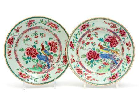 Two famille rose bird plates