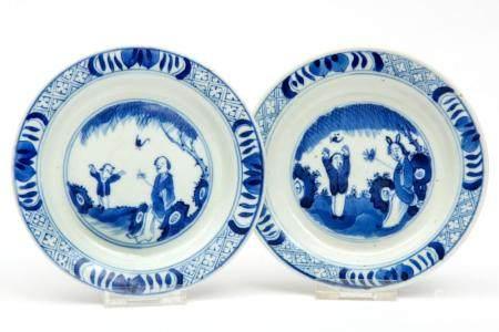 "A blue and white ""Joke"" plate"