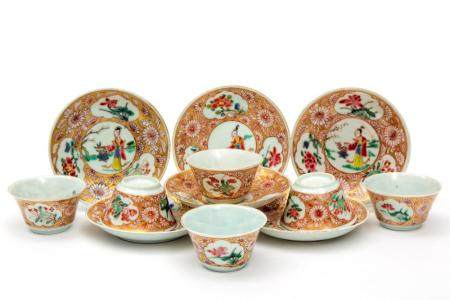 Six famille rose cups and saucers