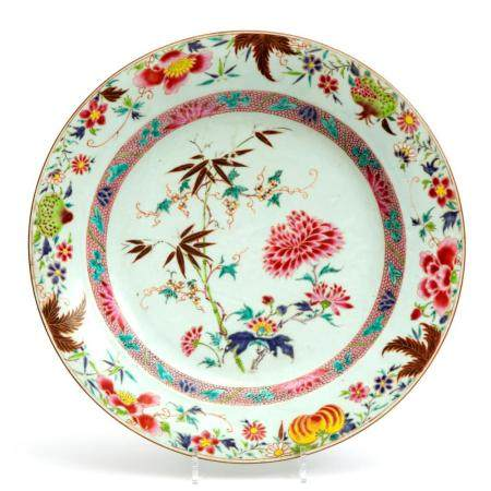 A large famille rose floral charger