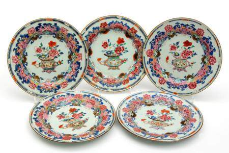Five famille rose flower vase plates