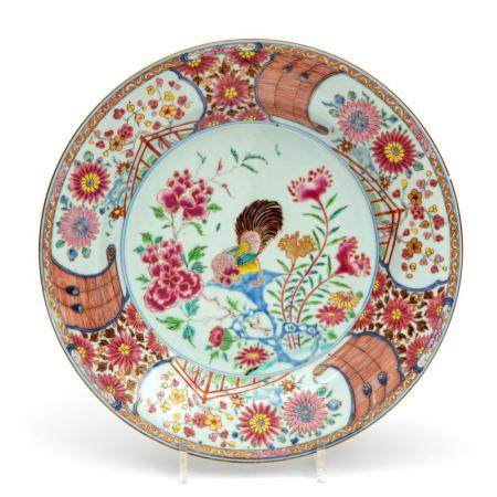 A large famille rose cockerel plate