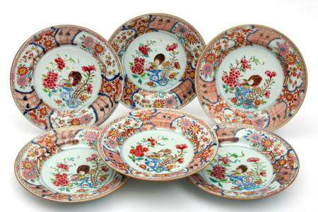 Six famille rose cockerel plates